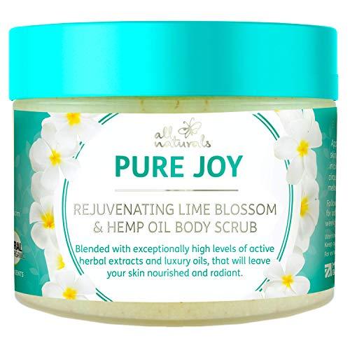 All Naturals, Exfoliating Body Scrub, Lime Blossom & Hemp Oil, 400g, Intensive Skin Nourishing & Skin Cell Reveval Treatment, Gifts for Women.