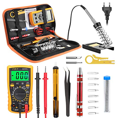 Kriogor Lötkolben Set, 60W Lötstation 18 in 1 Lötkolben Kit mit Digital-Multimeter für Elektronische Reparatur