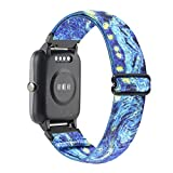 WONMILLE Adjustable Smartwatch Replacement Straps for SW021 ID205L/SW025 ID205S Sport Watch, Soft Nylon Stretchy Elastics Sport Wristband 19mm Bands Accessory (Starry Sky)