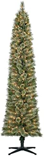 Home Heritage Stanley 7 Foot Skinny Slim Pencil Artificial Pre-Lit Christmas Tree with Clear White Lights