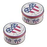 PRETYZOOM Metall-Keksdosen 4. Juli Candy Box American Flag Dose Aufbewahrungsbox für Unabhängigkeitstag Party Liefert 2 Stück (Herzmuster)