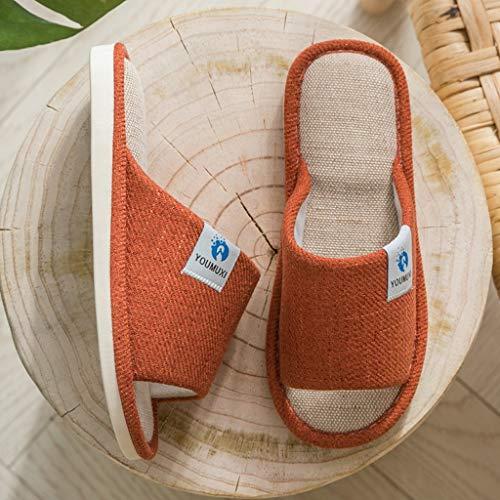KFDS Damenhausschuhe, Einstellbarer Öffnen Zehehefterzufuhren for Frauen, Memory-Foam-Hausschuhe Hauspantoffeln Mit Indoor Outdoor-Anti-Rutsch-Gummisohle (Color : Orange, Size : M(37-38))