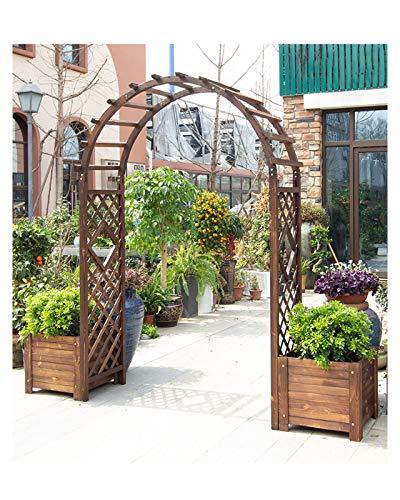 F-XW Premium Archway Garden Arbor Outdoor Solid Wood Trellis Rose Arch with Dual Planters Patio Backyard Rose Arbour Pergola W200cm×H210cm