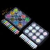 GOTONE 24 colori paillettes per unghie, paillette olografiche superfine nail art glitter manicure...