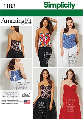 Simplicity US1183AA Plus Size Corset Sewing Pattern for Women, Sizes 20W-28W