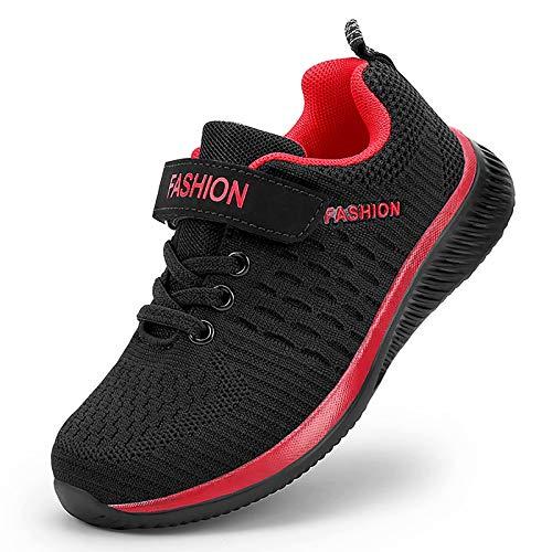 GURGER Sneakers Fille Chaussure de Course Garçon Respirant Basket Enfant Sport Running Shoes Basses Noir Rouge Taille 36