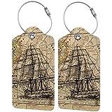 mengmeng Antiguo barco náutico brújula mapa tarjeta de visita equipaje etiquetas 2 unids etiqueta maletas viaje etiquetas para maletas