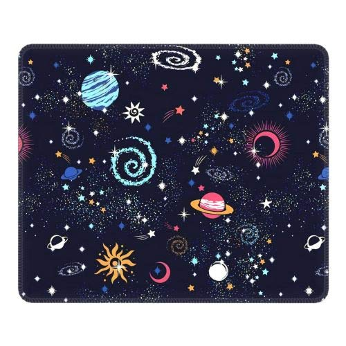 Mayakaka Space Galaxy Gaming Mouse Pad, Mouse Pad with Durable Stitched Edges, 10.3' x8.3' x0.12' Planet Mouse Pad, for Games, Laptops, Computers, Offices, Non-Slip Rubber Base Waterproof Mouse Pad