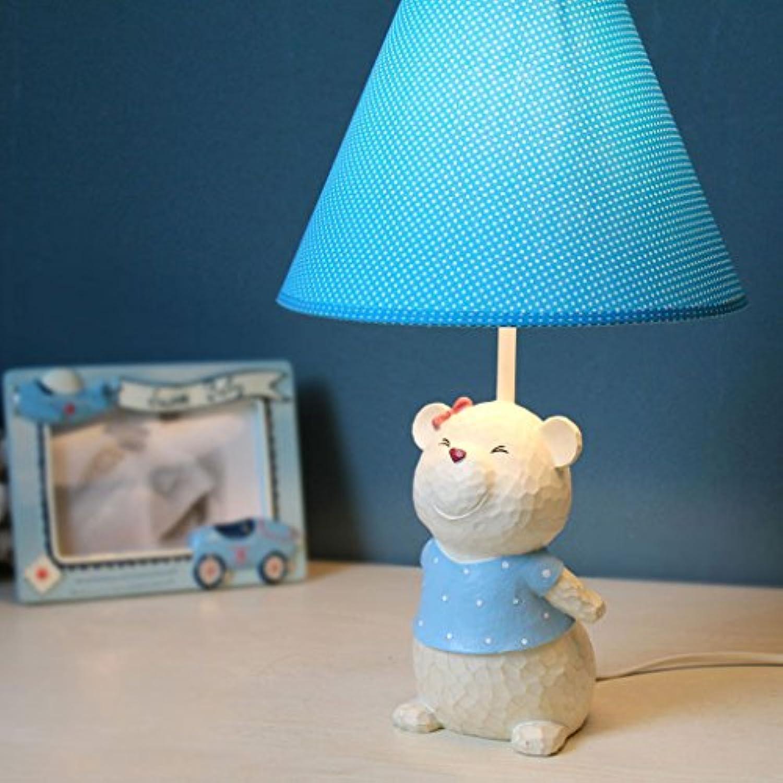 Harz Lampe einstellbar Licht Stoff Schatten Schlafzimmer Nachttischlampe niedlichen Bart Br Tischlampe (Farbe   Blau)