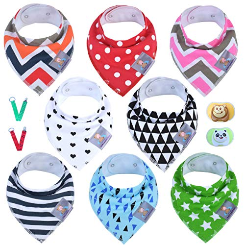 8-Pack Baby Bandana Drool Bibs for Drooling