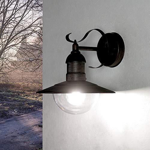 Lámpara de exterior rústica en dorado envejecido, E27, hasta 60 W, 230 V, lámpara de pared de aluminio y cristal sintético, para terraza, jardín, camino, lámpara de iluminación exterior