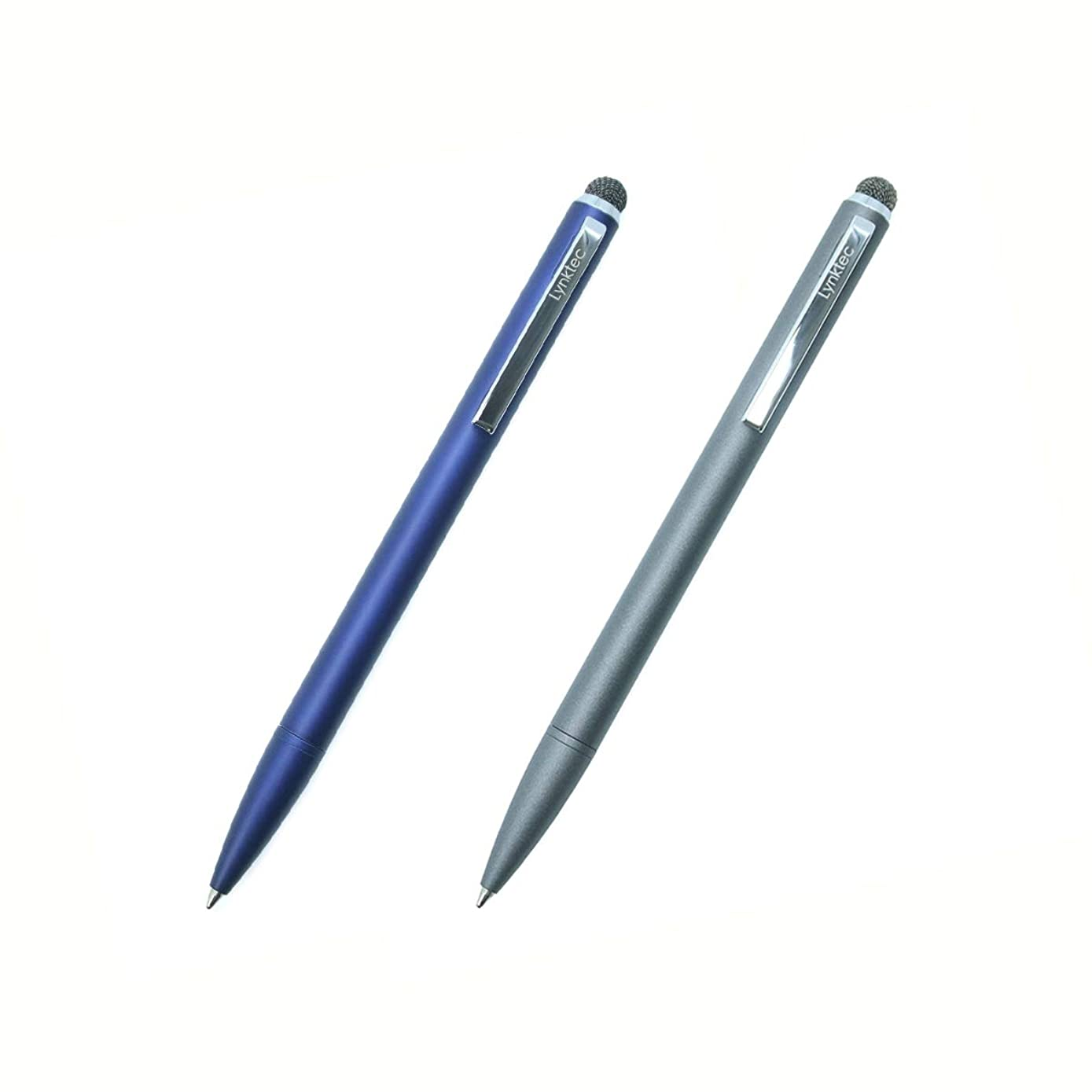 2-Pack TruGlide Duo Stylus Pen with Fiber Mesh Tip and Ballpoint Pen for iPad, iPhone, Tablet, Smartphone, and Touchscreen Devices (Blue, Gray)