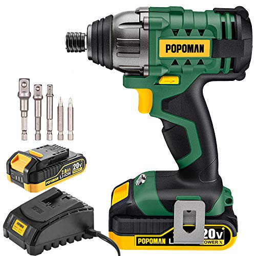 "Impact Driver, 1600In-lbs 20V MAX Impact Drill, 2000mAh Battery, 60-Min Fast Charger 2A, 1/4"" All-metal Hex Chuck, 0-2900RPM Variable Speed, 6 Pcs Accessories"