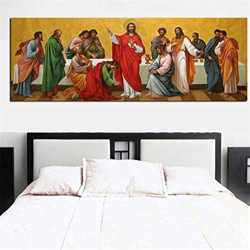 Diamond Art Painting Kits for Kids Full Drill Large Size 5D Diamond Painting Last Supper 50x150cm/20x60in Round Drill Rhinestone DIY Diamond Embroidery Cross Stitch Arts for Home Wall Decor L3703