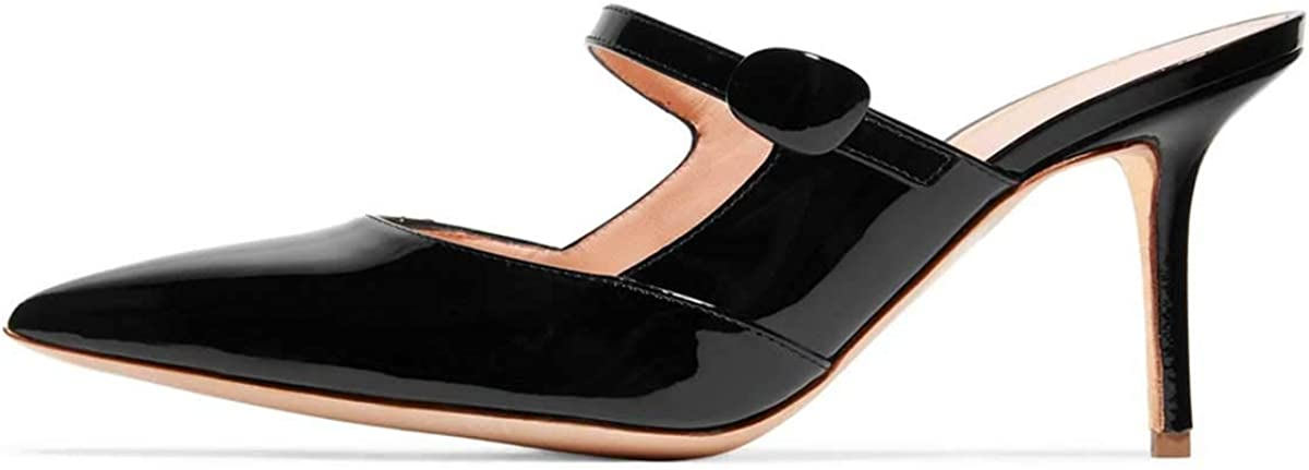 FSJ Women Thin High Heel Mary Jane Pumps Pointed Toe Slide Sandals Backless Mules Shoes Size 4-15 US