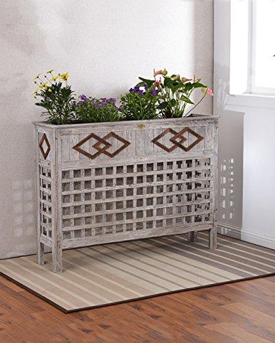 WUFENG Innendekoration Blumenkasten Innenhof Asphalt - Korrosion Blumentopf Rahmen Balkon Holz Grid Trennwand Blume Rack (Farbe : D-120cm)