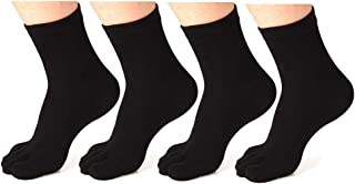 Women's Toe socks Cotton Crew Five Finger Socks For Running Athletic 4 Pack By Meaiguo
