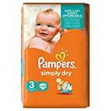 Pampers Simply Dry - Pañales (talla 3, 4-9 kg, 45 unidades)