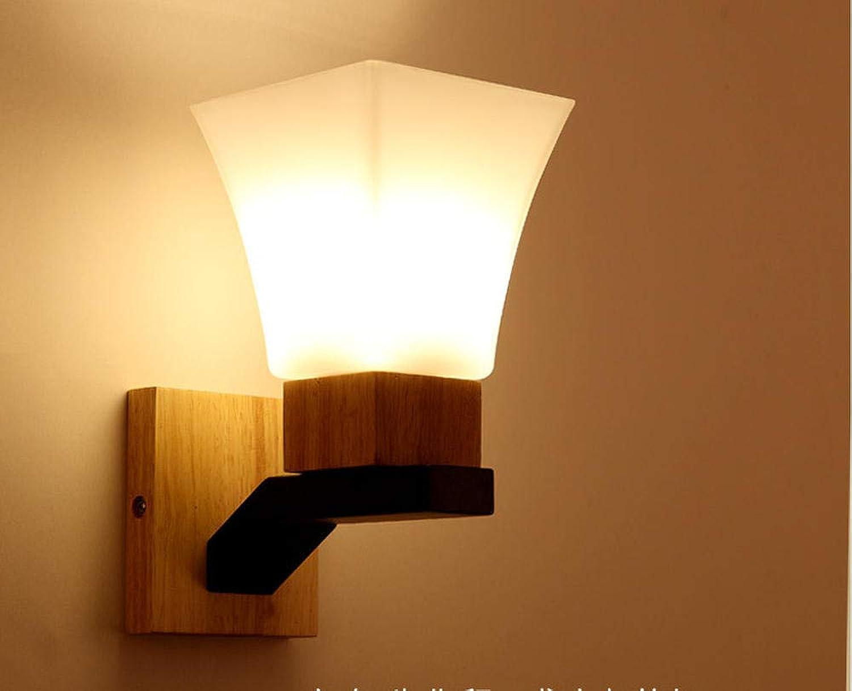 Rqcaxy Schlafzimmer-Nachttischlampen-Wohnzimmer-atmosphrische hlzerne Wand, die modernen Korridor beleuchtet, führten Fernsehhintergrund-Wand-Hallen-Beleuchtung