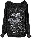 Emma & Giovanni - T-Shirt Papillons Manche Courte - Femme (XL/XXL, ML-Noir)
