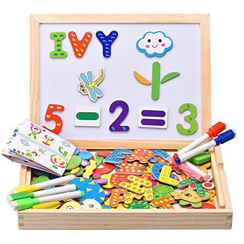 INNOCHEER Pizarra Magnetica Nios, Tablero Magnetico Nios, Letras/Nmeros/Forma 110 Piezas Magnticas con 5 Tizas de Colores, Juguete Educativo para mayores de 3 Aos