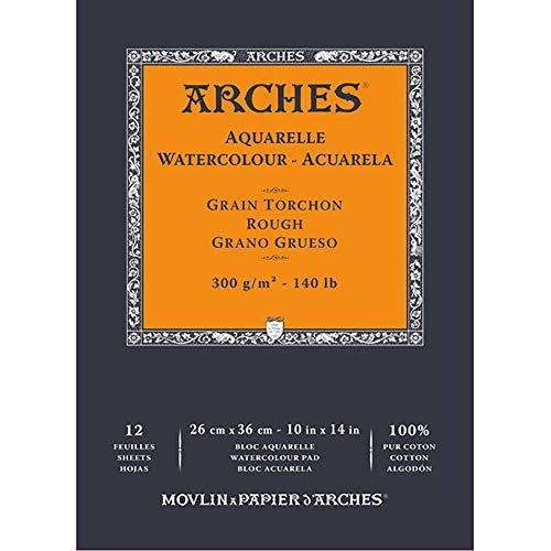 ARCHES A1795103 Block Enc 26 x 36 12H Aquarelle 100% dick 300 g weiß Nat