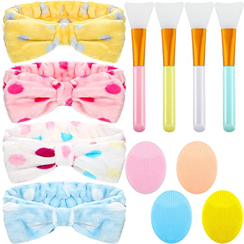 12 Pieces Microfiber Bowtie Headbands Sets, Includes 4 Pieces Soft Makeup Headbands, 4 Pieces Silicone Face Cleanser and Massage Brush, 4 Pieces Silicone Face Mask Brush Facial Mud Mask Applicator
