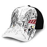 Gorra de béisbol para hombres y mujeres, viejos peatones franceses tiendas árboles y la silueta de Eifffel Urban Illustration Classic ajustable Plain Hat