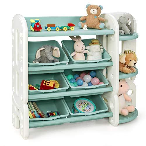 COSTWAY Kinder Spielzeugregal mit 6 Aufbewahrungsboxen und 4 Ablagen, Eckregal aus Kunststoff, Kinderregal, Aufbewahrungsregal ideal für Kinderzimmer und Kindergarten