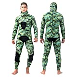 Znds Herren Full Wetsuit, 1,5 mm Yamamoto Hooded Spearfishing Suit, 2-Pieces Camo Super Stretch...