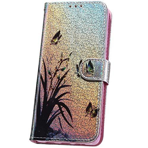 JAWSEU Coque compatible avec Samsung Galaxy A6 2018, motif mignon à paillettes en cuir synthétique à rabat avant et arrière avec porte-cartes et fermeture magnétique