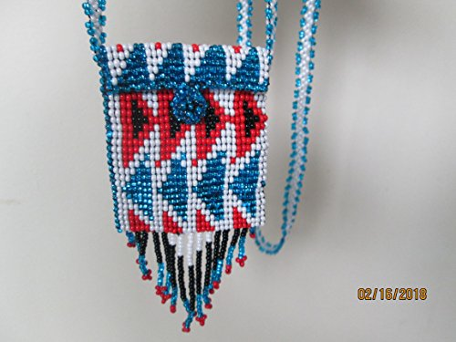 red white blue geometric Hand beaded Guatemalan central american Native design medicine bag stash pouch necklace fair trade southwest glass beads Aztec Indian triangle design Ethnic bead