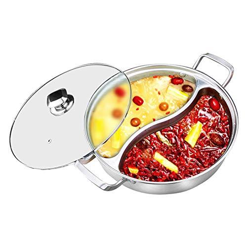 32 cm Edelstahl Mandarine Ente Hot Pot Topf Twin Divided 2 Grid 2 Geschmack Kochtopf Kochgeschirr Yuanyang Töpfe Geeignet für alle Induktionsherde Gasherd Halogenofen Home Kitchen