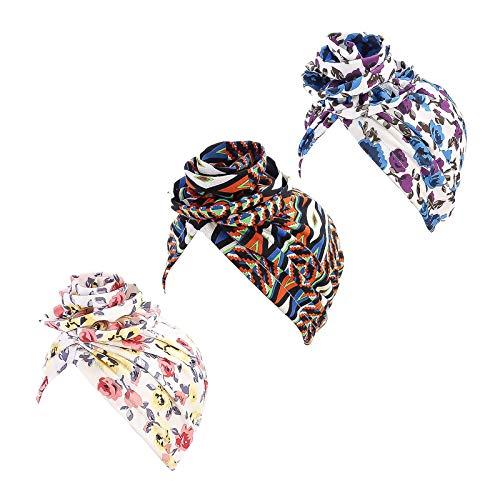 WELROG 3PCS Envoltura de Cabeza Tradicional para Mujer Gorra Turbante con Lazo...