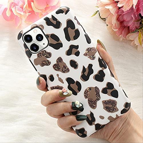 Funda con Purpurina Falsa de Leopardo para iPhone 11 Pro MAX X XR XS 7 8 Plus 6 6S SE2020 12 Mini Funda Delgada de Goma Suave para teléfono Funda Coque para iPhone 7 Blanco