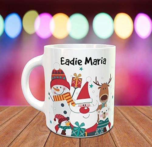 Personalised Christmas Mug with Penguin Reindeer Polar Bear Snowmen Fun Novelty Mugs Secret Santa