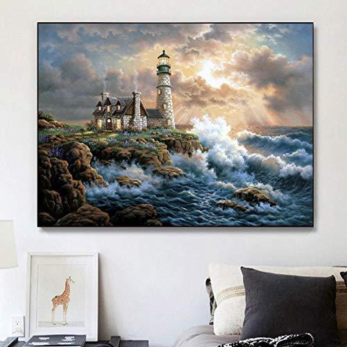 5D DIY Diamond Painting,para manualidades,decoración de pared Mar faro Living Room Wall Art Craft Decoración para el hogar,50X60CM