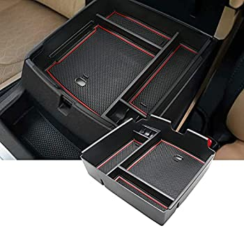 SKTU Compatible with 2022 Kia Carnival KA4 MPV Car Center Console Organizer Insert ABS Black Materials Tray Armrest Box Glove Secondary Storage Box with Coin and USB Hole  Red