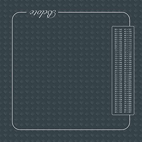 Tapis de belote 60x60 cm - avec Points - Gris. Fabrication Française