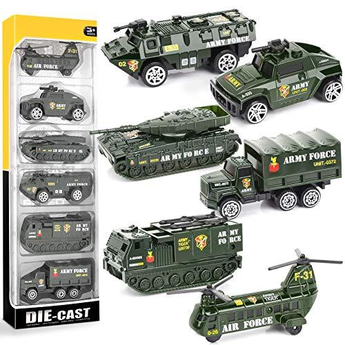 YIMORE Army Set Mini Veicoli Militari Giocattolo Metallo Modelli Camion per Bambini 3 4 5 6, 6 Pezzi