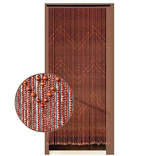 WENZHE Wooden Beaded Door Curtains for Doorways Bead String Curtain for Room Dividers Encryption Red-Brown Handmade Home Hanging Retro Decoration, Customizable (Size : 80x198cm-52 Strands)