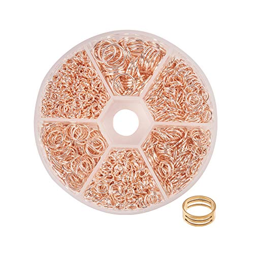 PandaHall Elite about 80g 6 Size Rose Gold Iron Jump Rings for Jewelry Making Supplies and Necklace Repair with Open Jump Ring (4mm, 5mm, 6mm, 7mm, 8mm, 10mm)