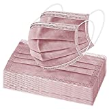50 Pcs Disposable Face Mäsks, Facial Mouth Cover, 3 Ply Breathable Non-woven Protectors with Elastic Earloops (Dusty Rose)