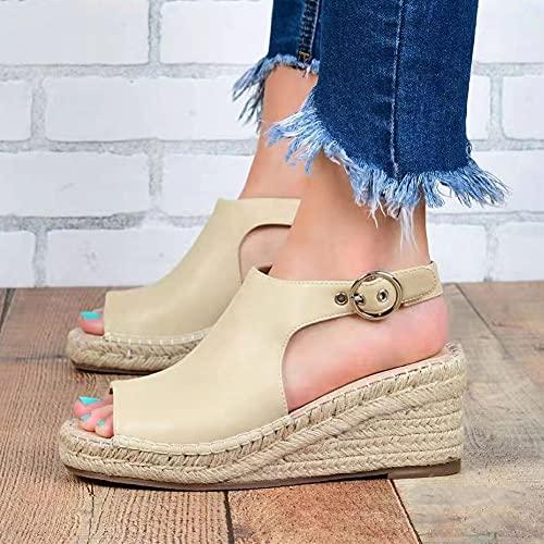 Liart Sandalias Cuña para Mujer para Verano Tobillo de Cuero Alpargatas Calzado Ancho Sandalias con Punta Abierta Mulas