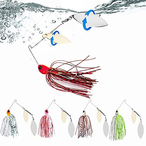 Ali York Fishing Lures for Bass,5 Pcs Spinner Baits for Bass Fishing,Trout Lures Freshwater Kits,Rooster Tail Fishing Lures,Fishing Bait for Freshwater & Saltwater,Bass Lures