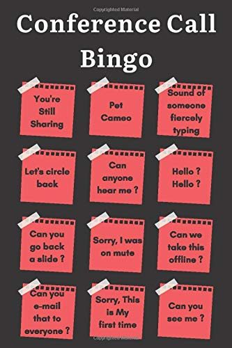 Conference Call Bingo: Lined Notebook | WFH Work From Home Survival Kit | Funny Boss Sarcastic Gifts For Coworker Meetings, Meeting Notebook
