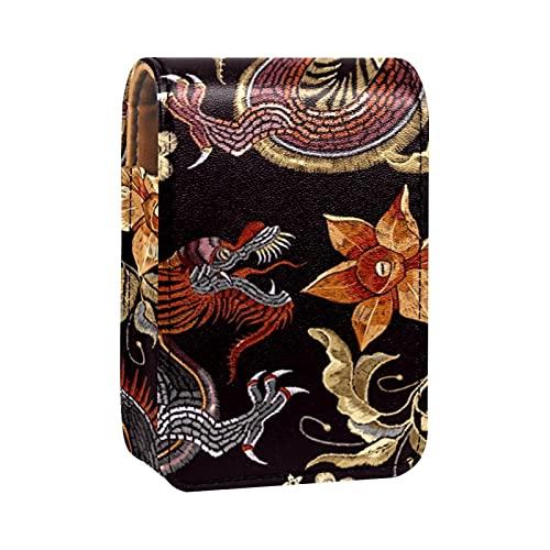 qfkj Étui à Rouge à lèvres Portable avec Un Couvercle,Broderie Dragon et Fleur