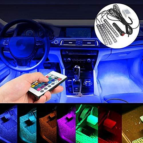 Mingsa Store Car Atmosphere LED Light Other Light Car Light Car Interior Floor Decor Remote Control Colorful Atmosphere LED Strip Lights