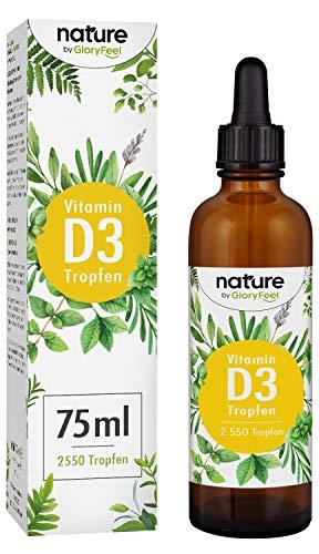 Vitamin D3 Tropfen Hochdosiert - 1000 I.E pro Tropfen - 75ml (2550 Tropfen) - Vergleichssieger 2019* - Flüssig in MCT Öl aus Kokos - Laborgeprüft hergestellt in Deutschland