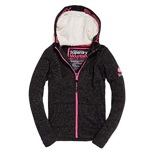 Superdry Damen Storm Colour Pop Ziphood Pullover, Grau (Charcoal Marl/Fluro Pink Hzn), X-Small (Herstellergröße: 8.0)